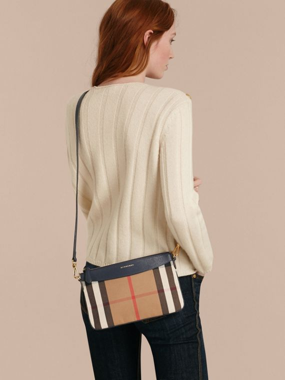 House Check and Leather Clutch Bag in Ink Blue - Women | Burberry - cell image 2