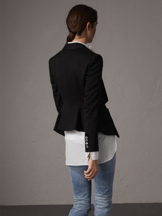 Cinched Waist Wool Tailored Jacket in Black - Women | Burberry - cell image 2