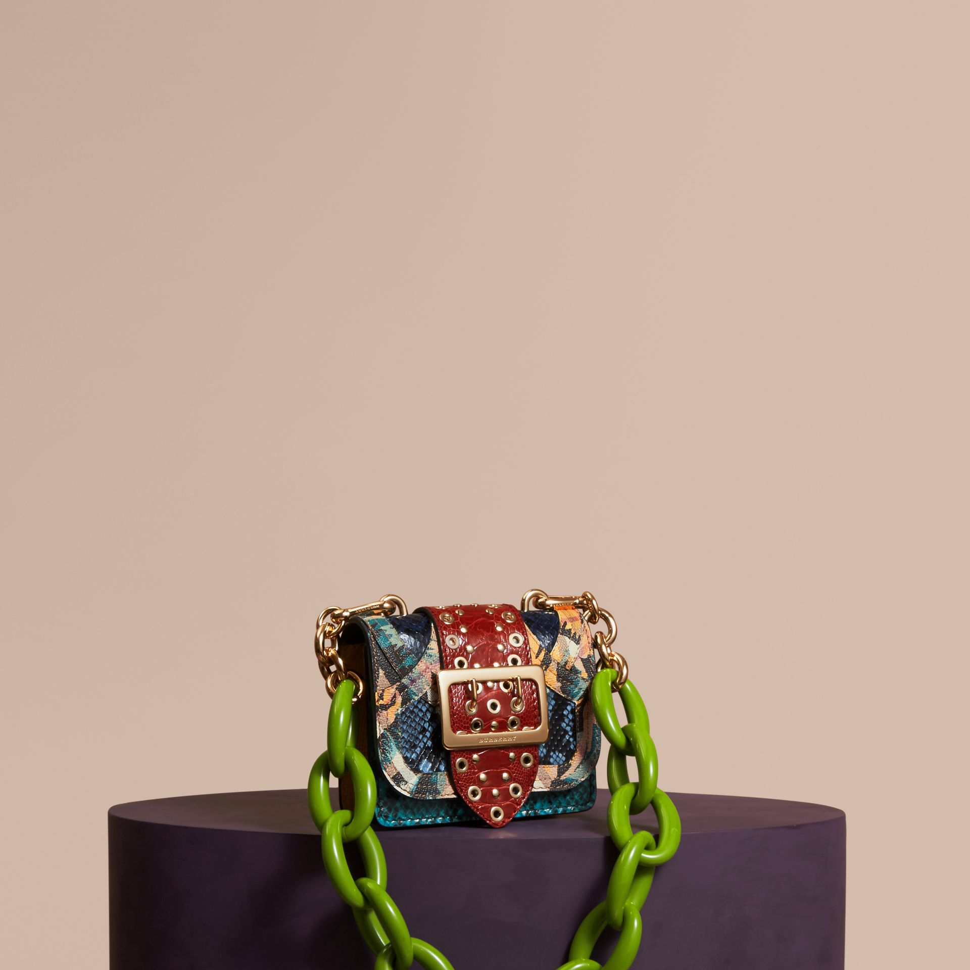 Pewter blue The Mini Square Buckle Bag in Snakeskin, Ostrich and Floral Print - gallery image 1