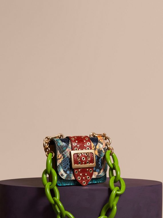 The Mini Square Buckle Bag in Snakeskin, Ostrich and Floral Print
