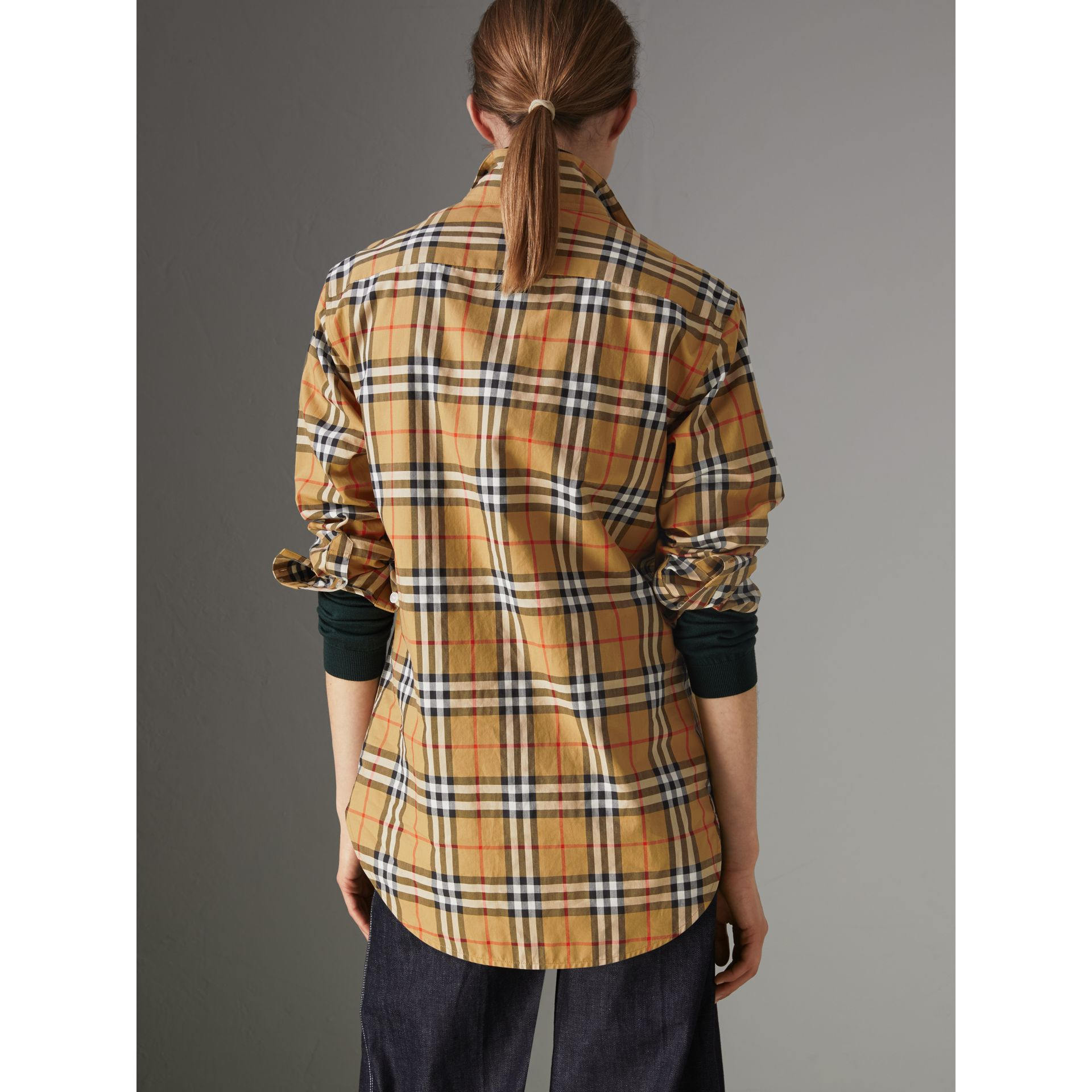 Stand Collar Vintage Check Cotton Shirt in Antique Yellow - Women | Burberry - gallery image 2