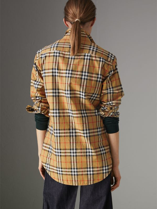 Stand Collar Vintage Check Cotton Shirt in Antique Yellow - Women | Burberry Canada - cell image 2