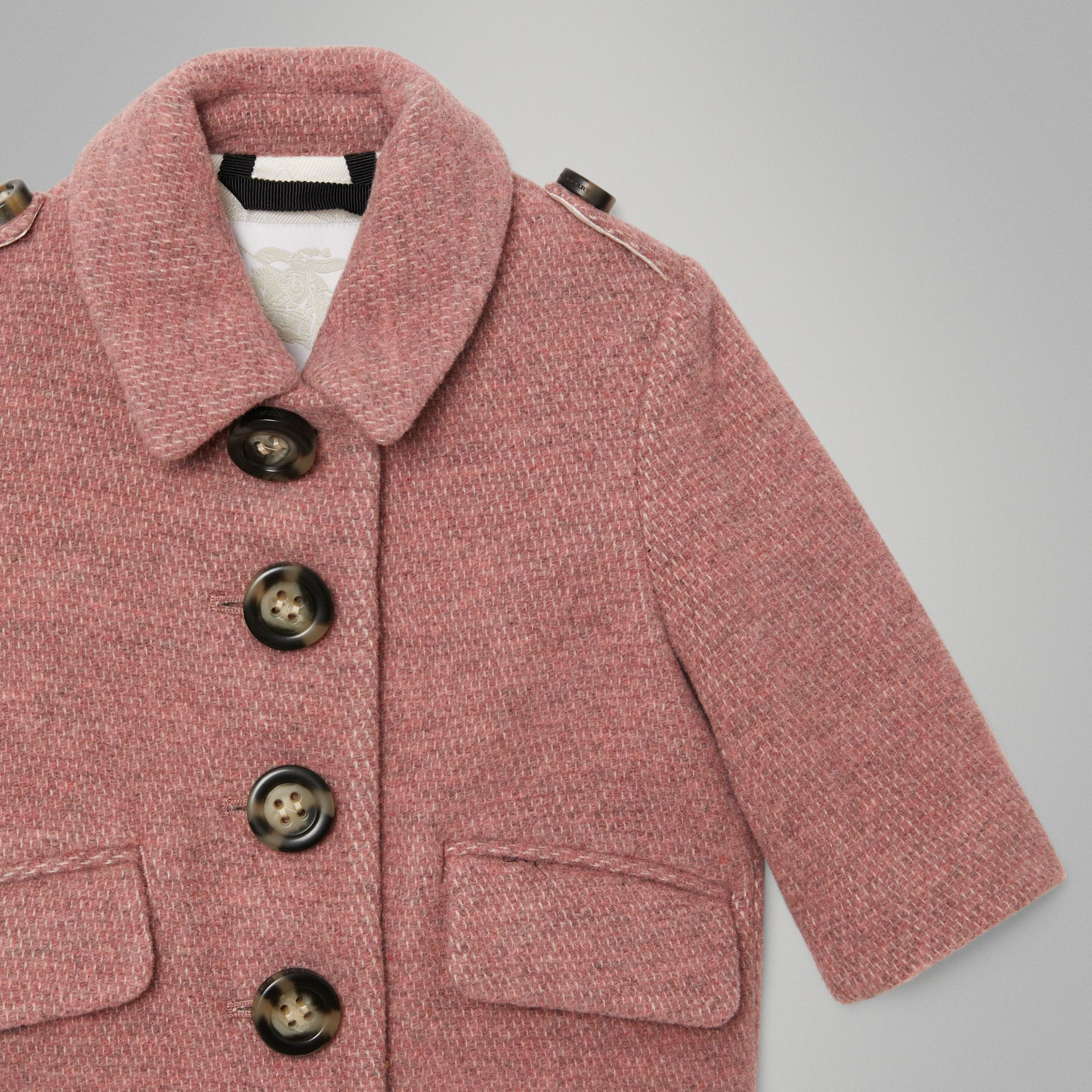 Wool Blend Pea Coat in Rose Pink Melange - Children | Burberry - gallery image 4