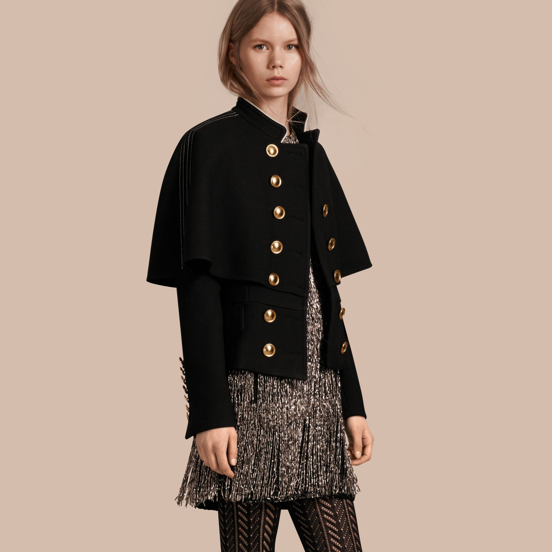 Black Wool Silk Military Cape Jacket - gallery image 1