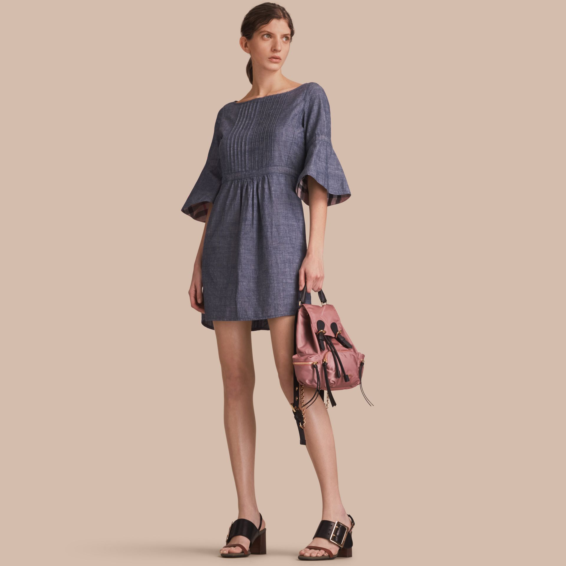 Bell Sleeve Cotton Chambray Dress with Check Detail - gallery image 1