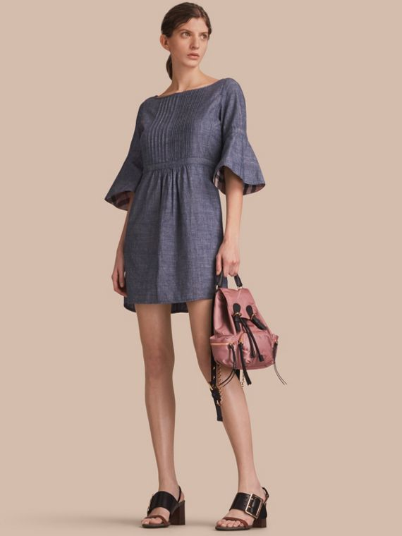 Bell Sleeve Cotton Chambray Dress with Check Detail
