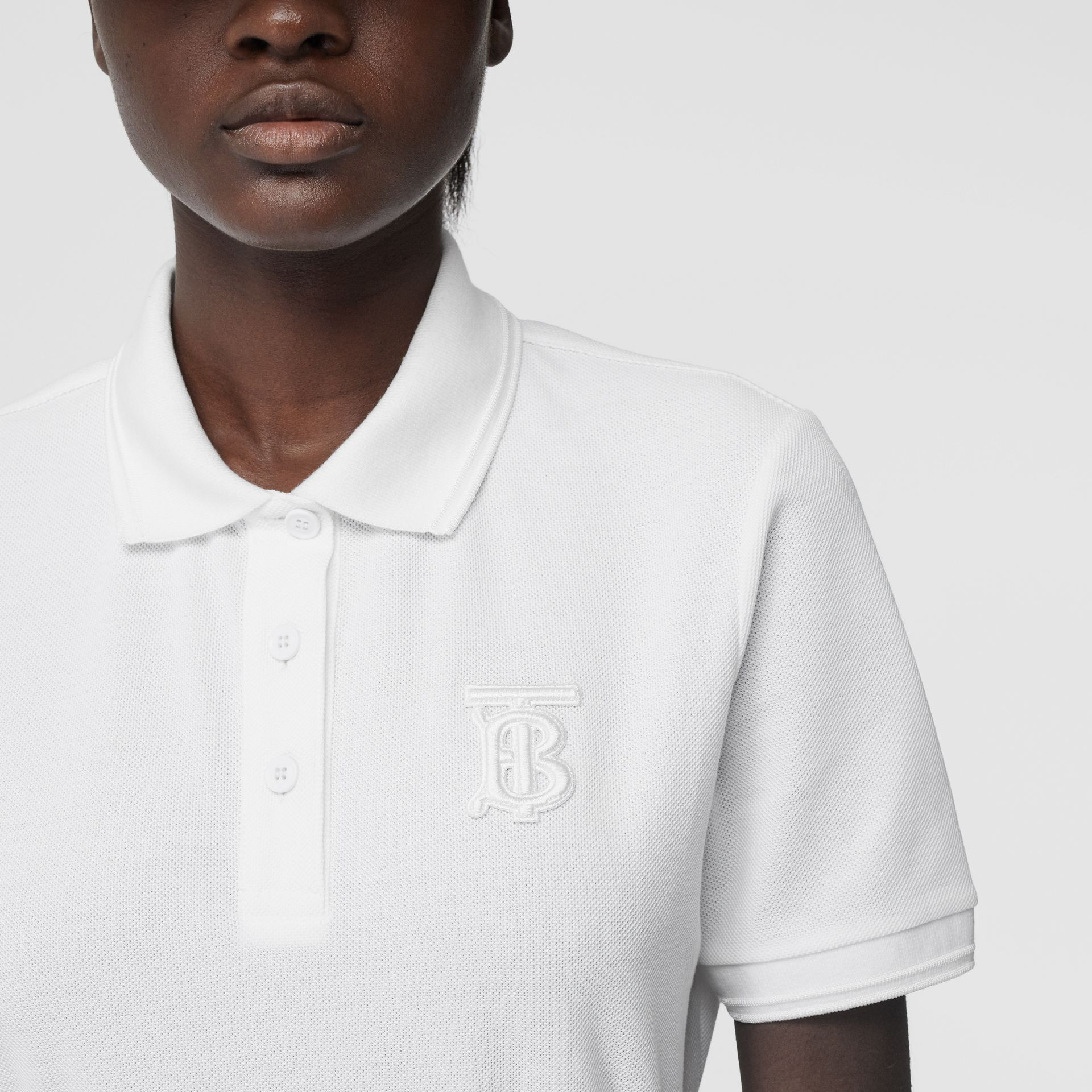 Monogram Motif Cotton Piqué Polo Shirt in White - Women | Burberry - gallery image 4