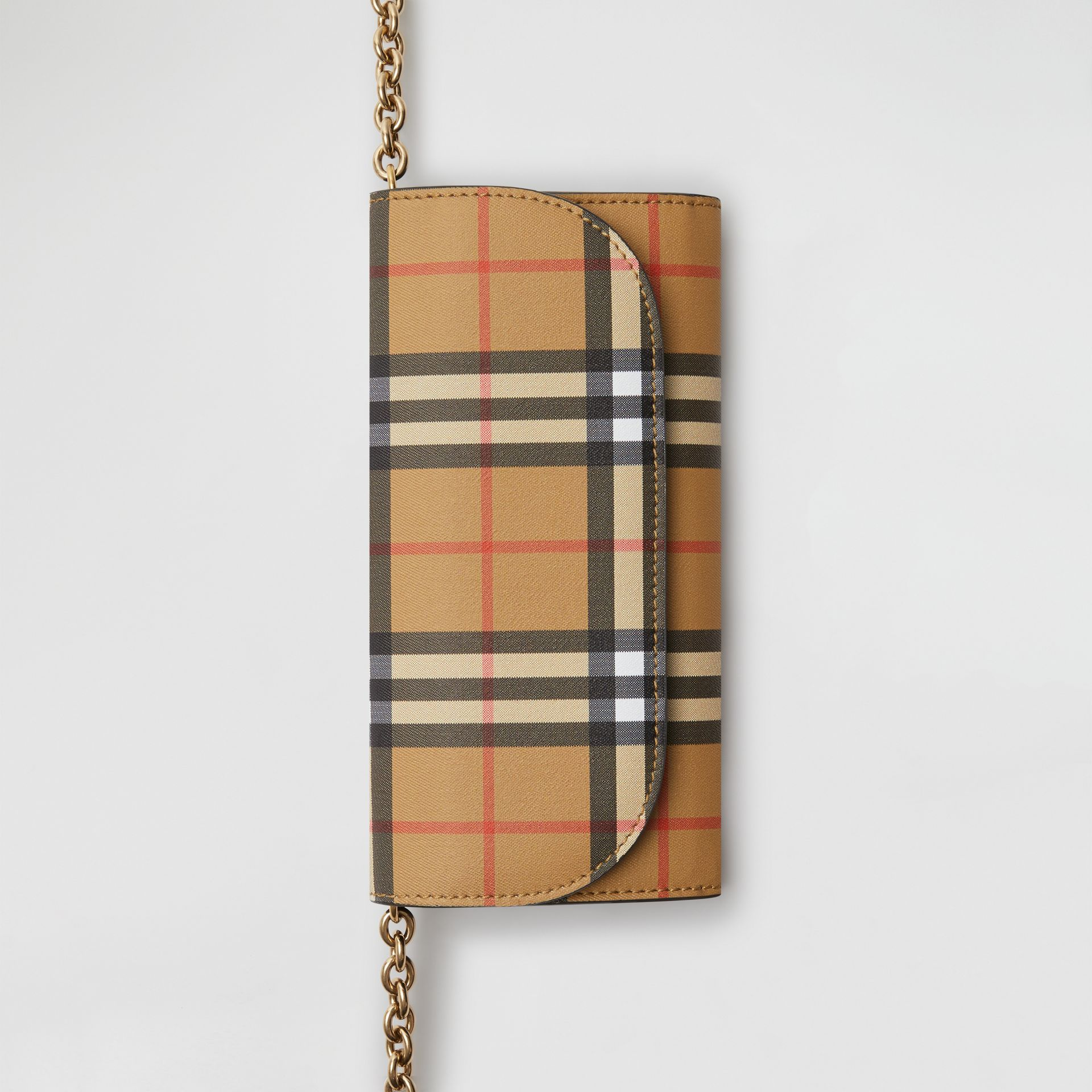 Vintage Check and Leather Wallet with Detachable Strap in Crimson - Women | Burberry Singapore - gallery image 3