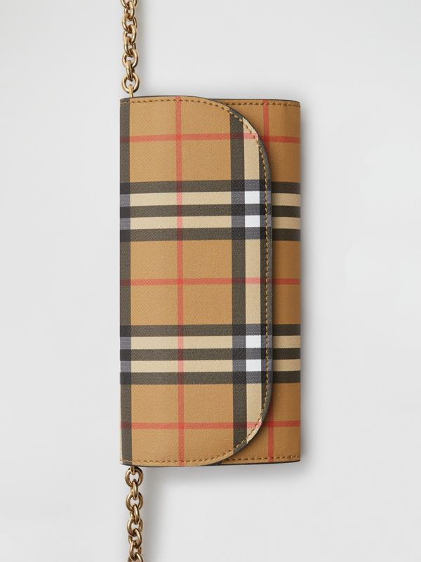 Vintage Check and Leather Wallet with Detachable Strap in Crimson - Women | Burberry Hong Kong S.A.R - cell image 2
