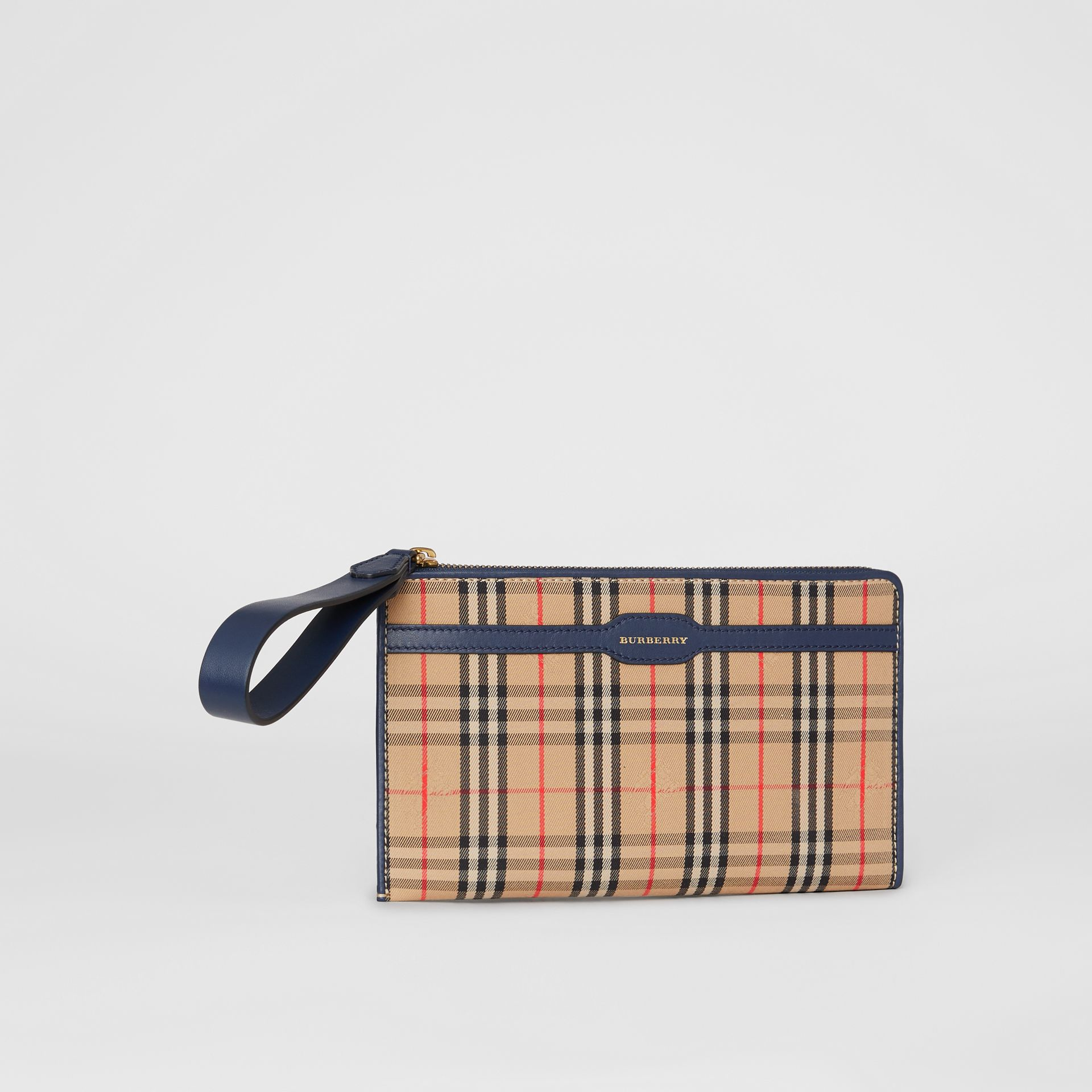 1983 Check and Leather Travel Wallet in Ink Blue - Men | Burberry - gallery image 7