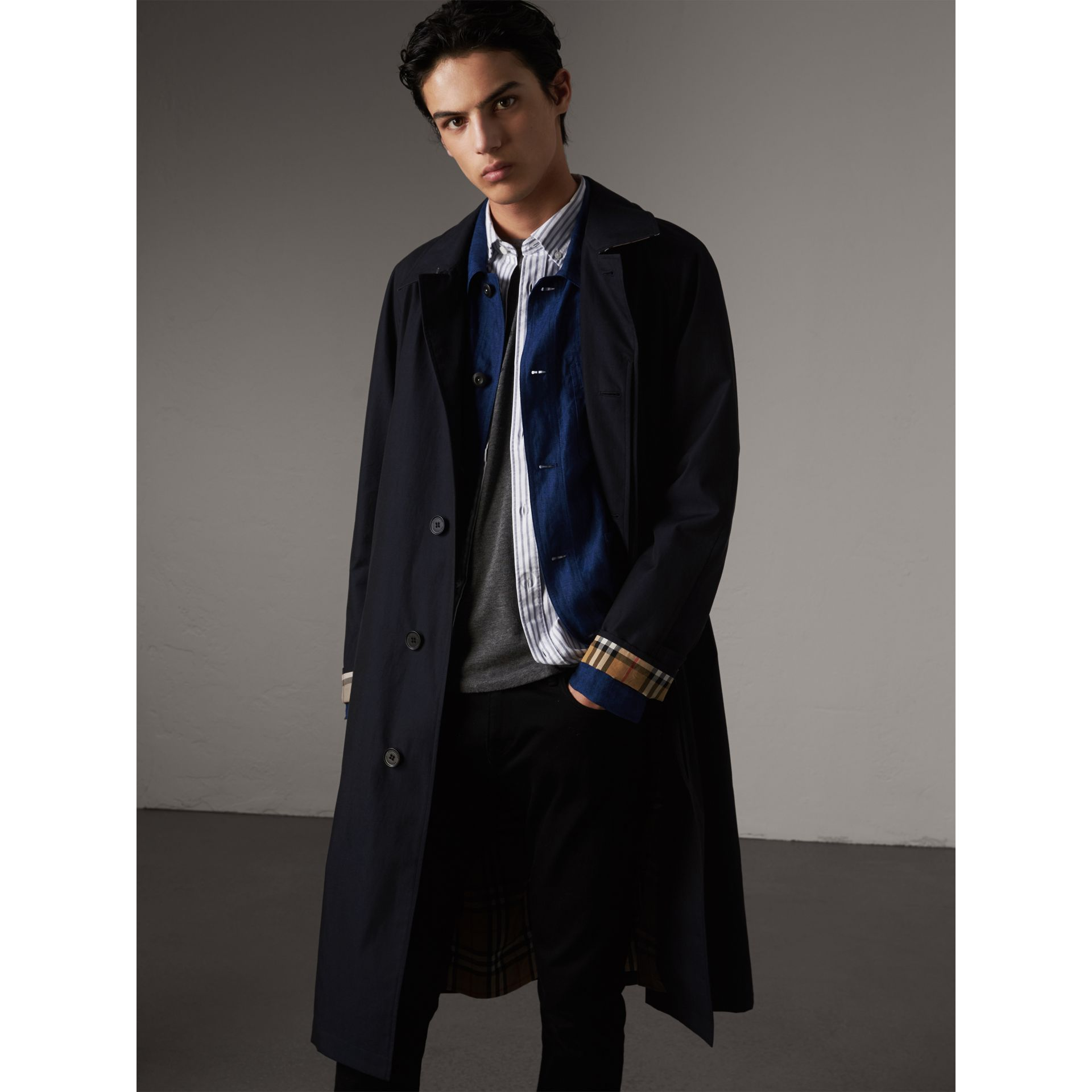 The Brighton – Longline Car Coat in Blue Carbon - Men | Burberry - gallery image 6