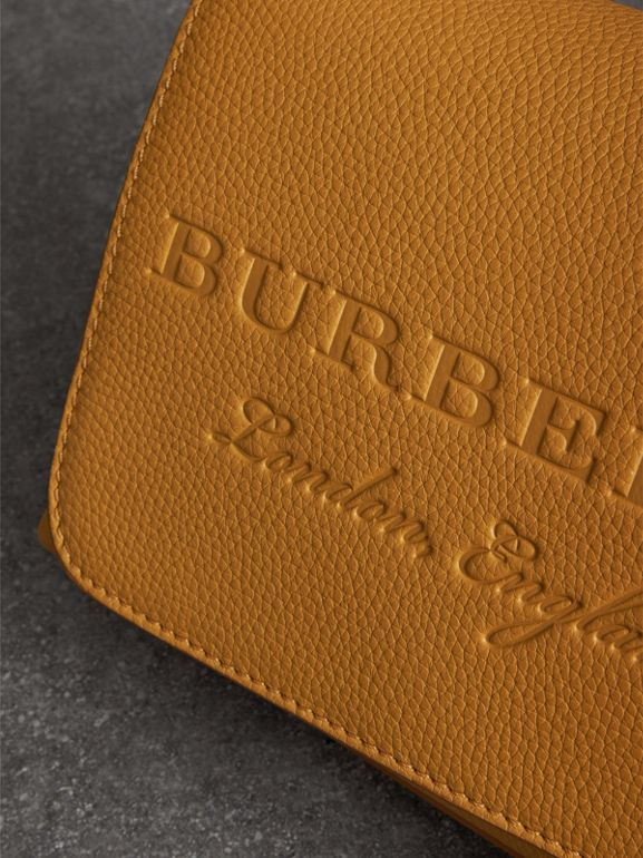 Small Embossed Leather Messenger Bag in Ochre Yellow - Women | Burberry United Kingdom - cell image 1
