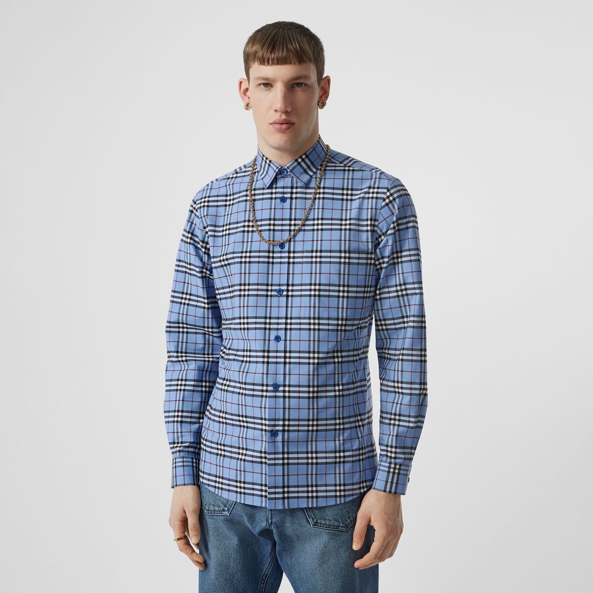 Vintage Check Stretch Cotton Poplin Shirt in Opal Blue - Men | Burberry - gallery image 0