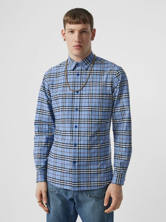 Vintage Check Stretch Cotton Poplin Shirt in Opal Blue