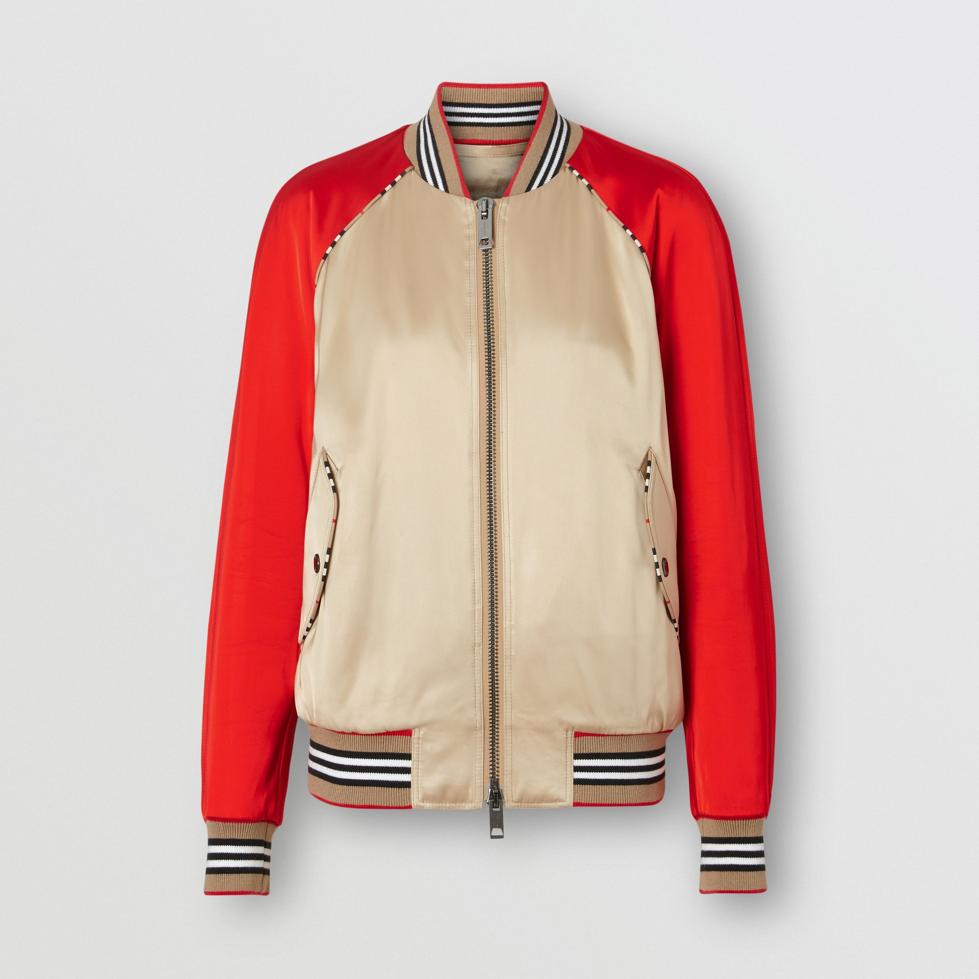 Icon Stripe Detail Monogram Motif Bomber Jacket in Honey/red - Women | Burberry - gallery image 3