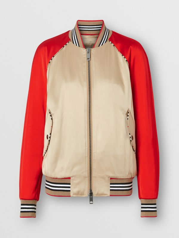 Icon Stripe Detail Monogram Motif Bomber Jacket in Honey/red - Women | Burberry Singapore - cell image 3