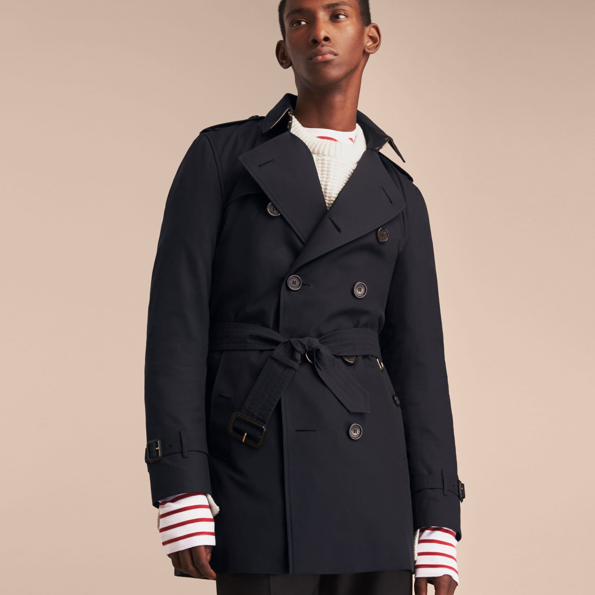 Navy The Kensington – Mid-length Heritage Trench Coat Navy - gallery image 8