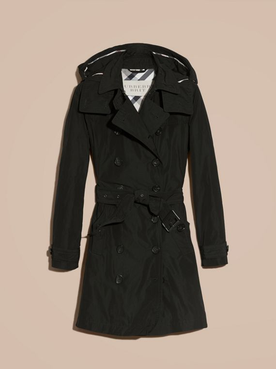 Black Taffeta Trench Coat with Detachable Hood Black - cell image 3
