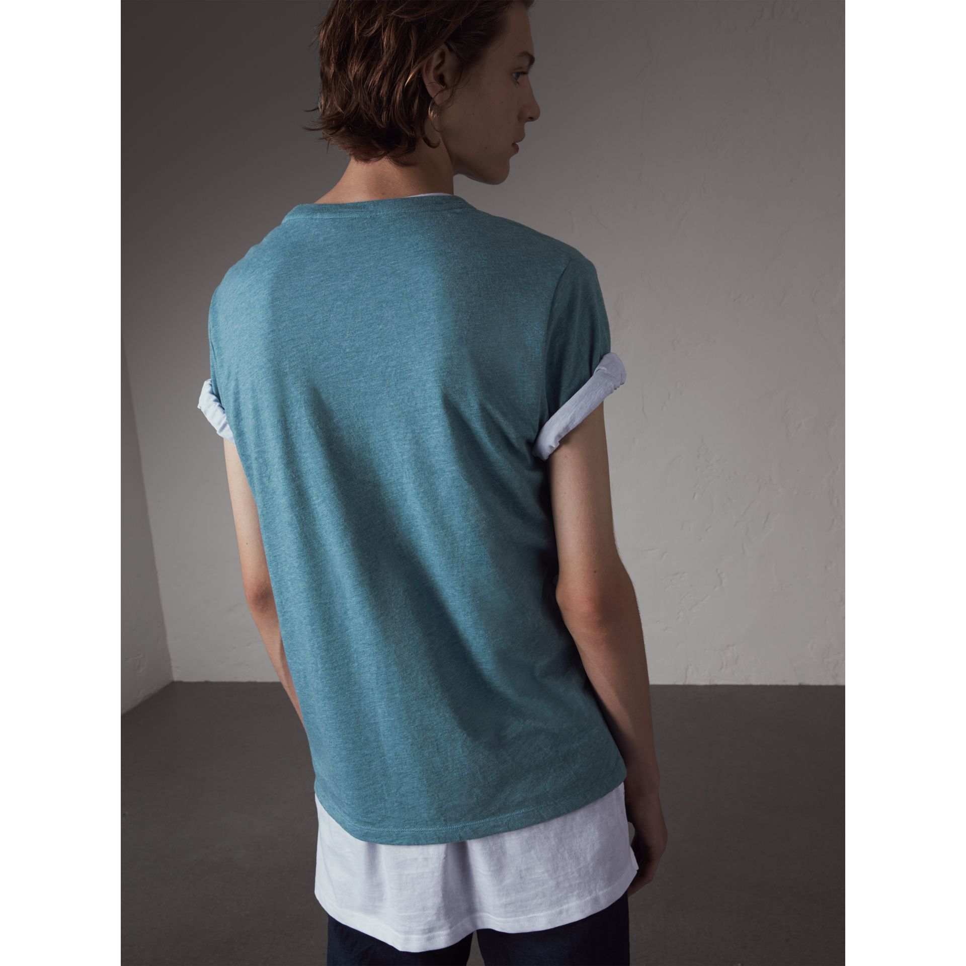 Devoré Cotton Jersey T-shirt in Cyan Blue - Men | Burberry - gallery image 3