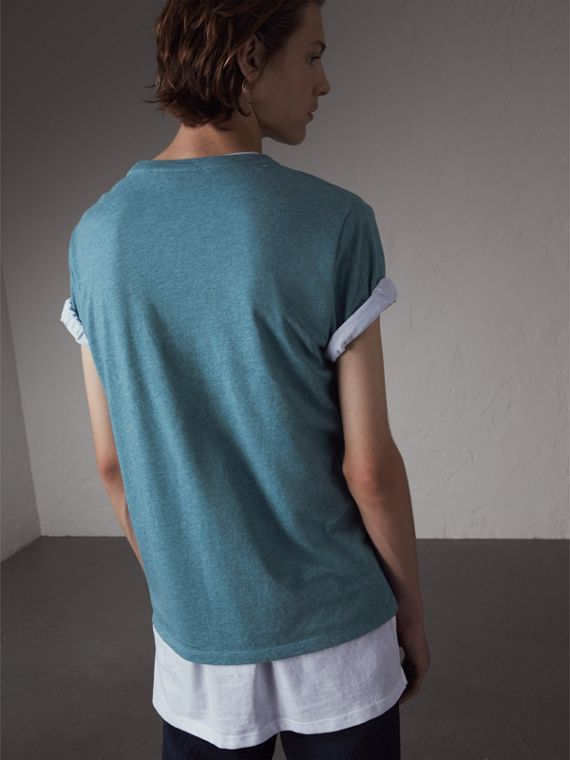 Devoré Cotton Jersey T-shirt in Cyan Blue - Men | Burberry - cell image 2