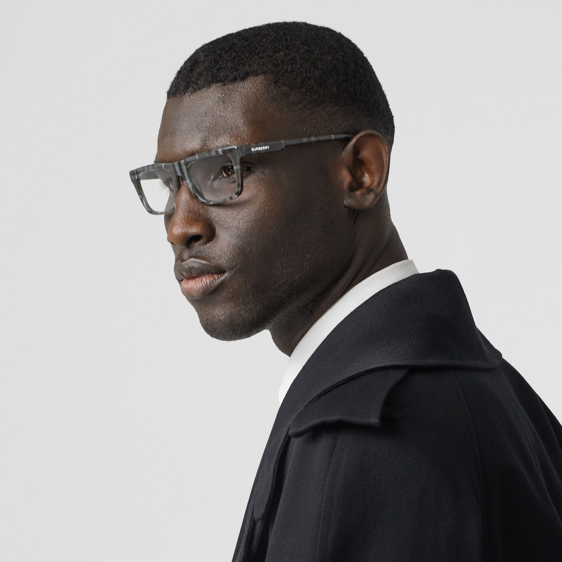 Vintage Check Rectangular Optical Frames in Charcoal Black - Men | Burberry Canada - gallery image 2