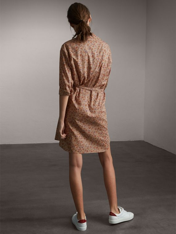 Tie-waist Floral Print Cotton Shirt Dress in Light Copper - Women | Burberry - cell image 2