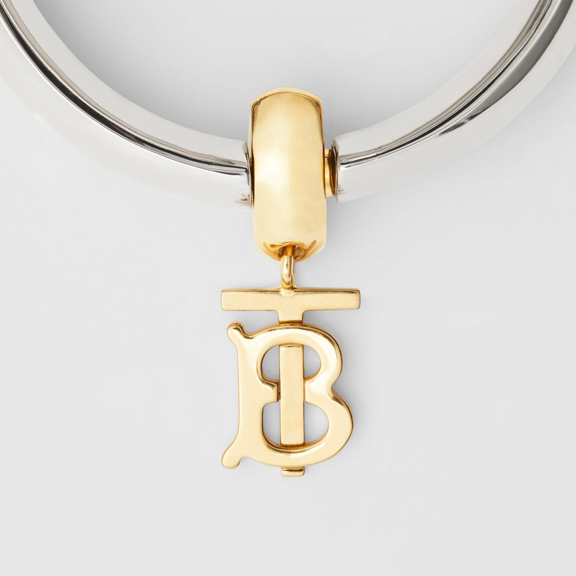 Palladium-Plated Monogram Motif Bangle in Palladio - Women | Burberry United Kingdom - gallery image 1