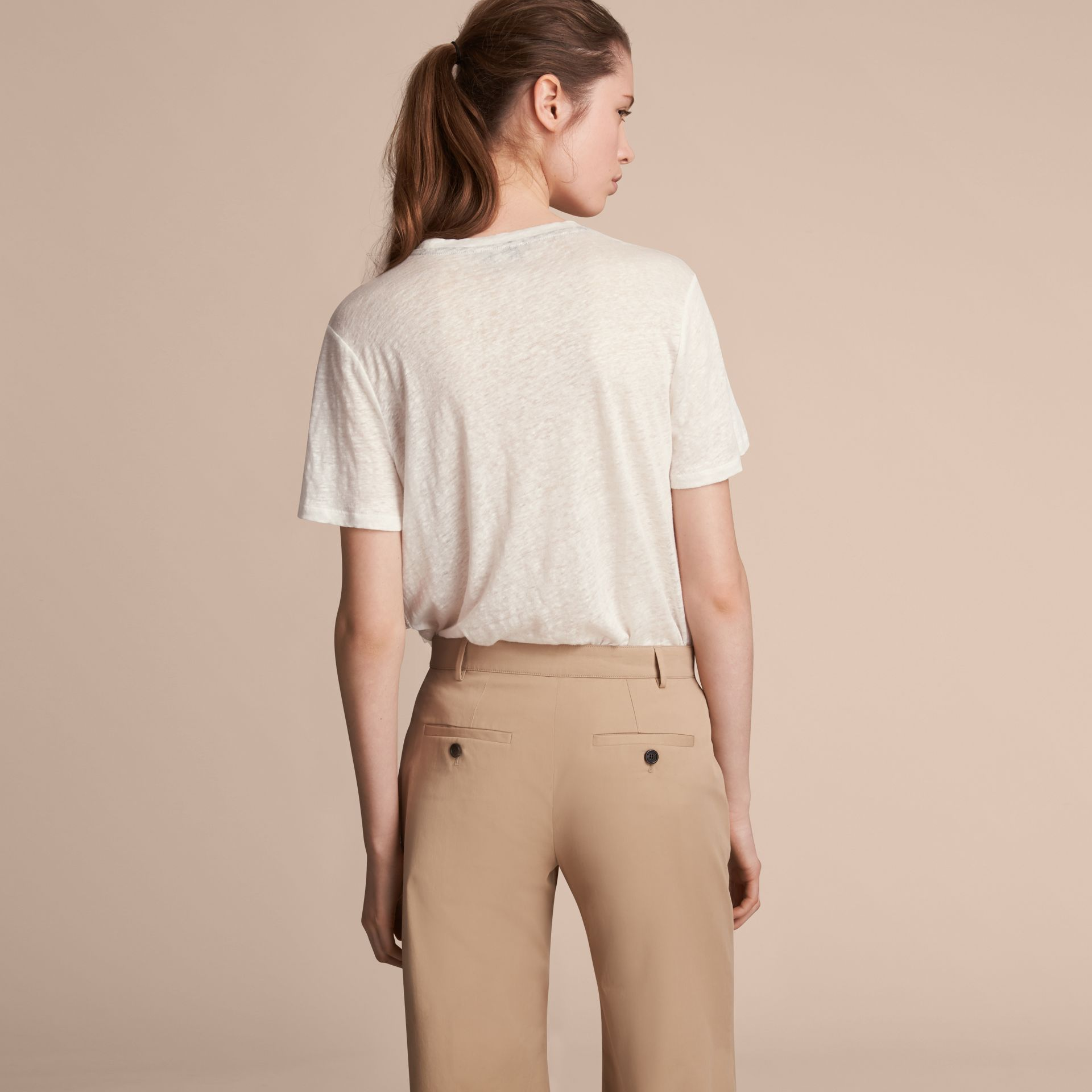 Lace Detail Linen T-shirt - Women | Burberry - gallery image 3