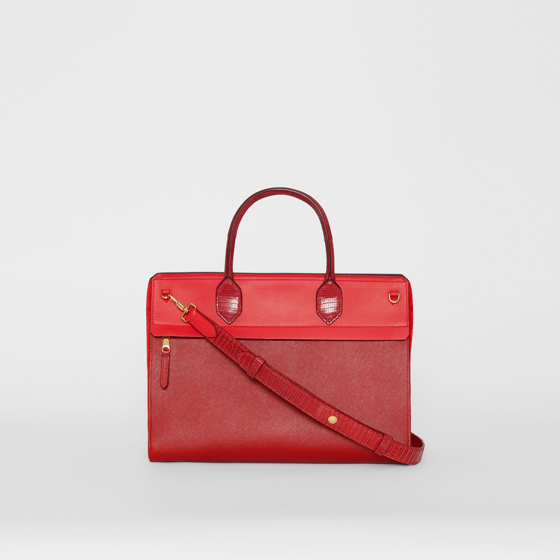 Small Leather and Suede Elizabeth Bag in Bright Military Red - Women | Burberry United Kingdom - gallery image 7