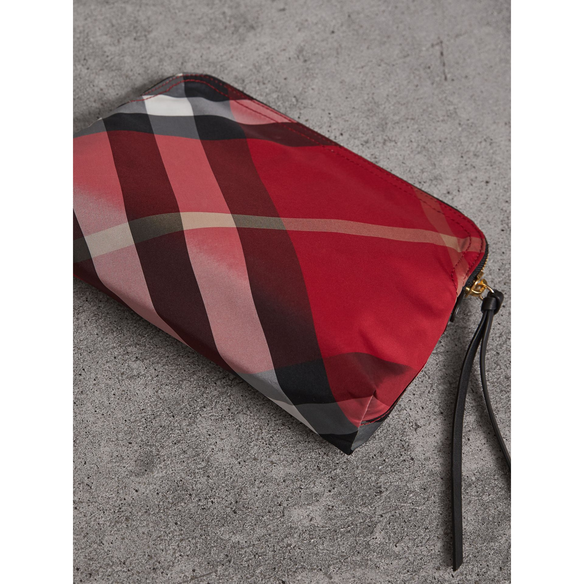Large Zip-top Check Pouch in Parade Red - Women | Burberry - gallery image 4