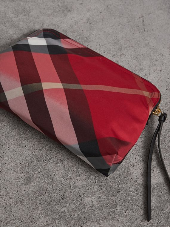 Large Zip-top Check Pouch in Parade Red - Women | Burberry - cell image 2