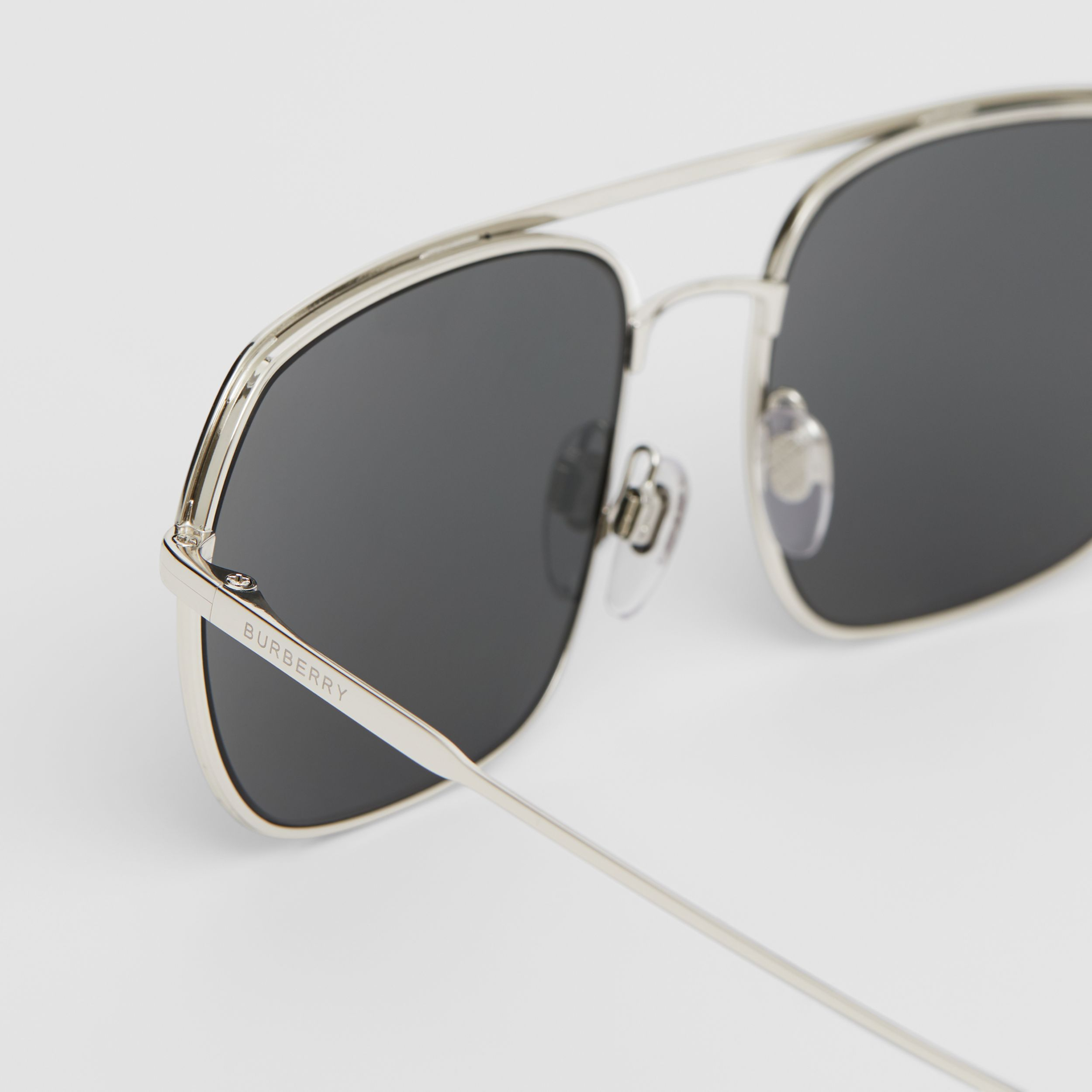 Square Pilot Sunglasses in Silver - Men | Burberry - 2