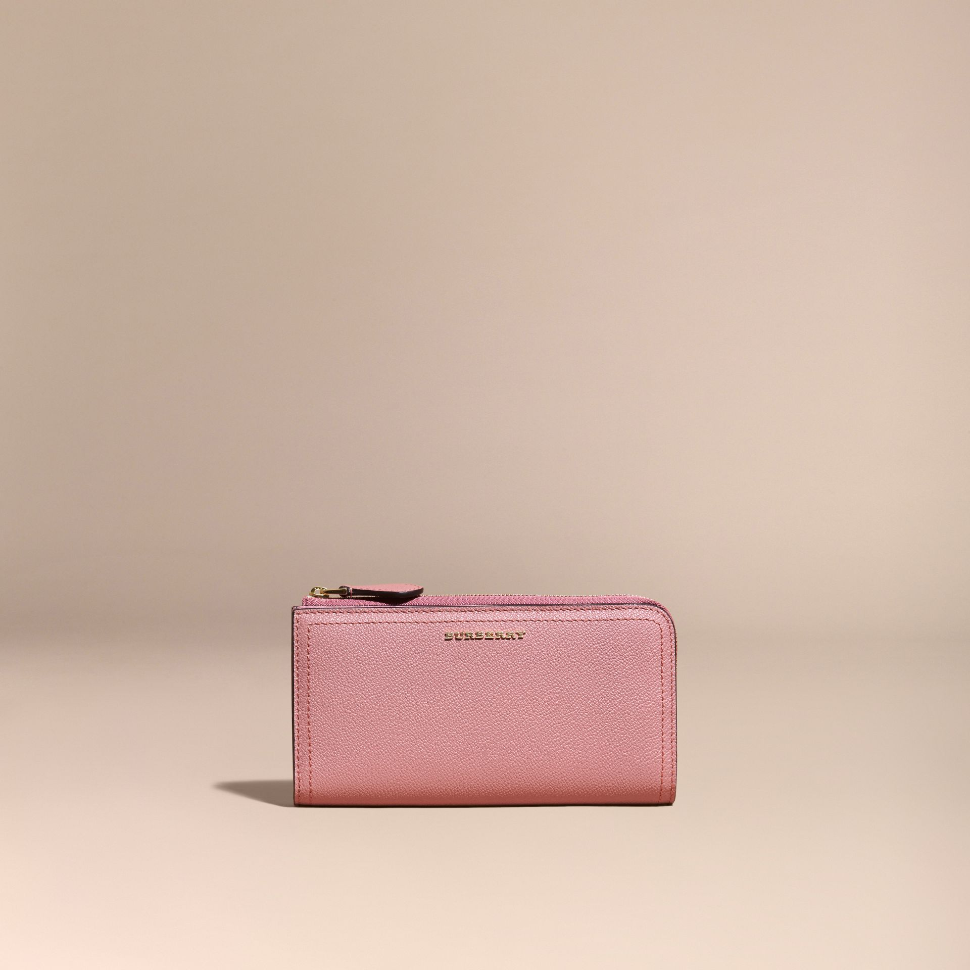 Grainy Leather Ziparound Wallet Dusty Pink - gallery image 7