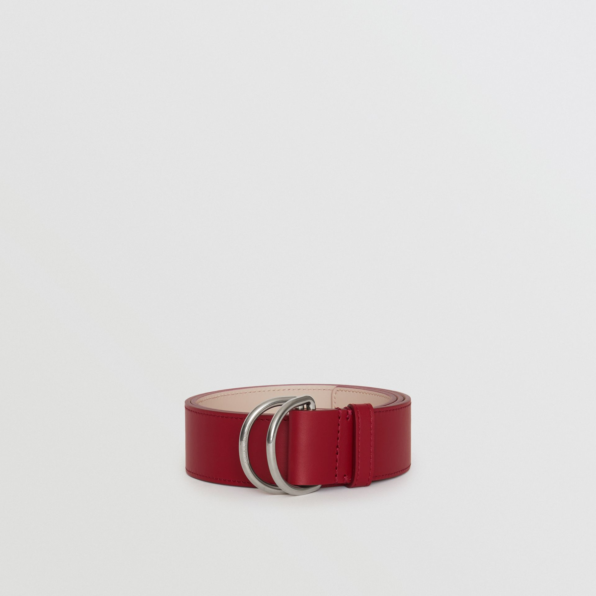 Leather Double D-ring Belt in Crimson/limestone - Women | Burberry United States - gallery image 2