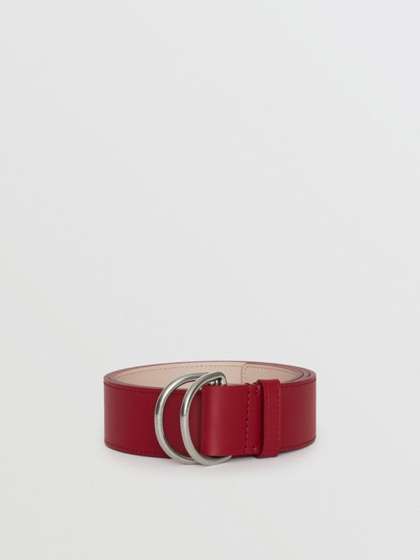 Leather Double D-ring Belt in Crimson/limestone - Women | Burberry United Kingdom - cell image 2