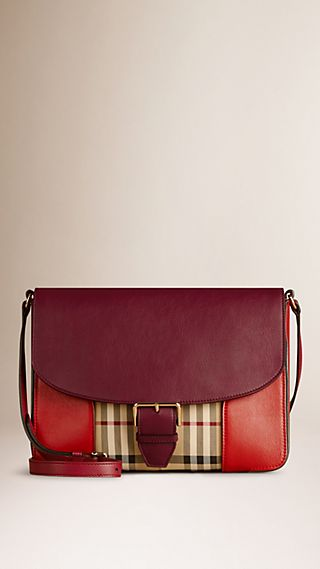 Medium Horseferry Check and Leather Crossbody Bag