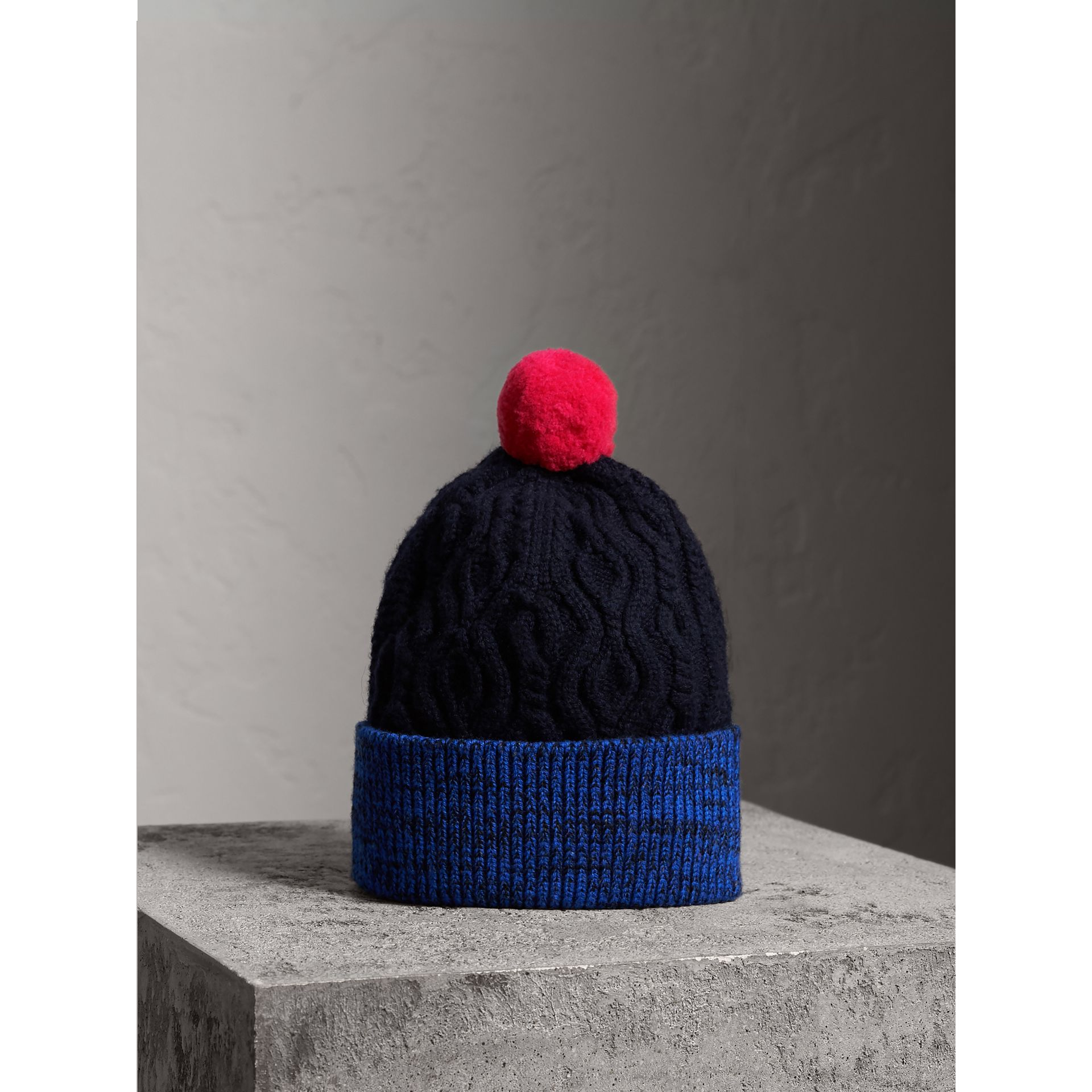 Pom-pom Cable Knit Wool Cashmere Beanie in Navy - Women | Burberry - gallery image 0