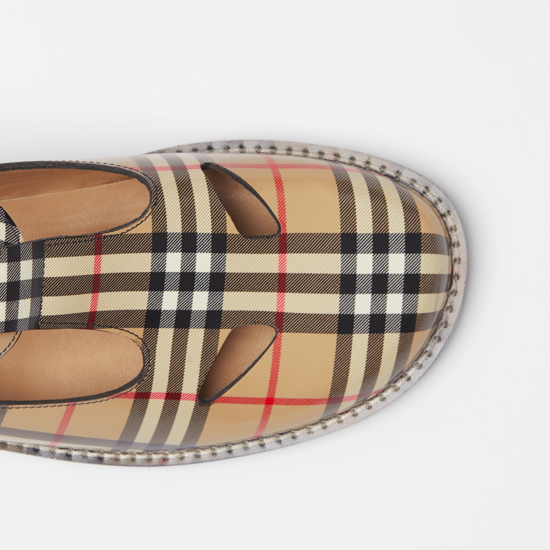 Vintage Check Leather T-Bar Shoes in Archive Beige - Women | Burberry - gallery image 1