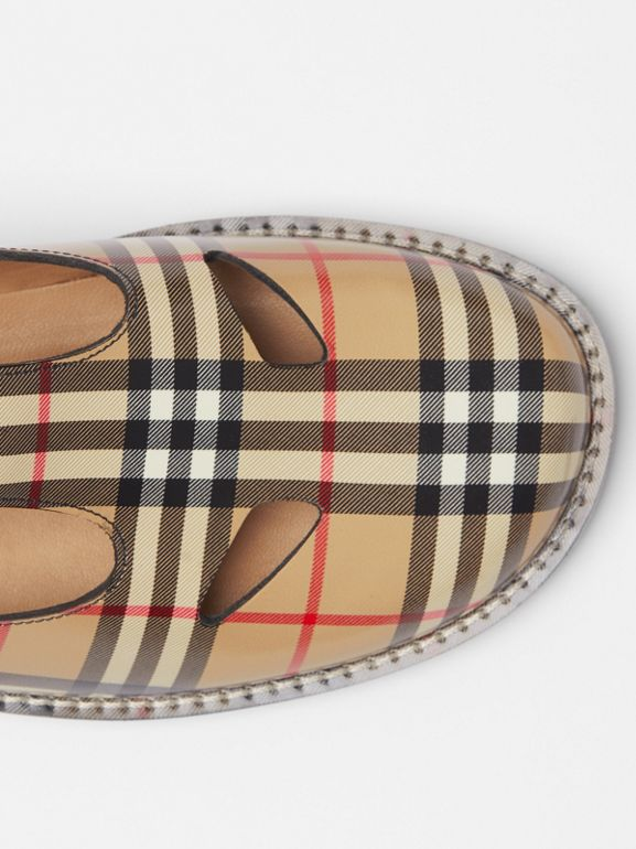 Vintage Check Leather T-Bar Shoes in Archive Beige - Women | Burberry - cell image 1