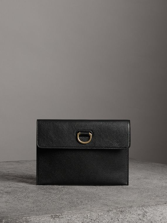 D-ring Leather Pouch with Zip Coin Case in Black