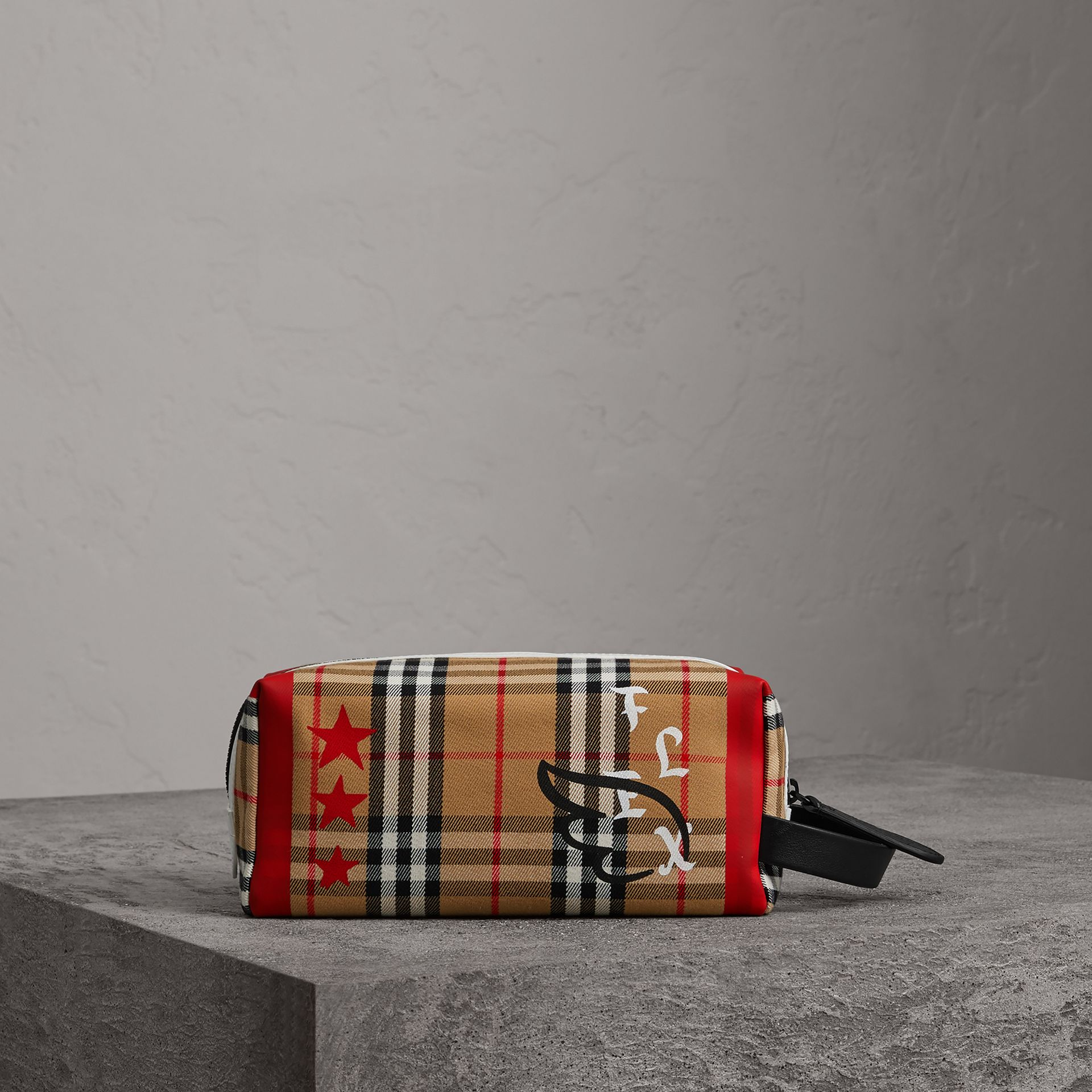 Burberry x Kris Wu Vintage Check Cotton Pouch in Antique Yellow - Men | Burberry - gallery image 0