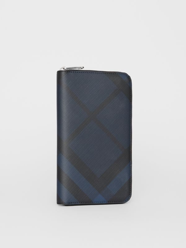 London Check and Leather Ziparound Wallet in Navy/black - Men | Burberry - cell image 3