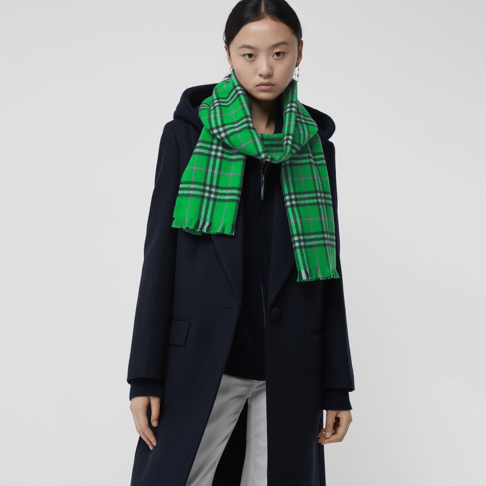 Check Cashmere Scarf in Bright Grass Green | Burberry United Kingdom - gallery image 5