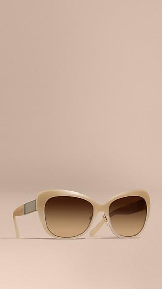 Check Detail Square Cat-eye Sunglasses