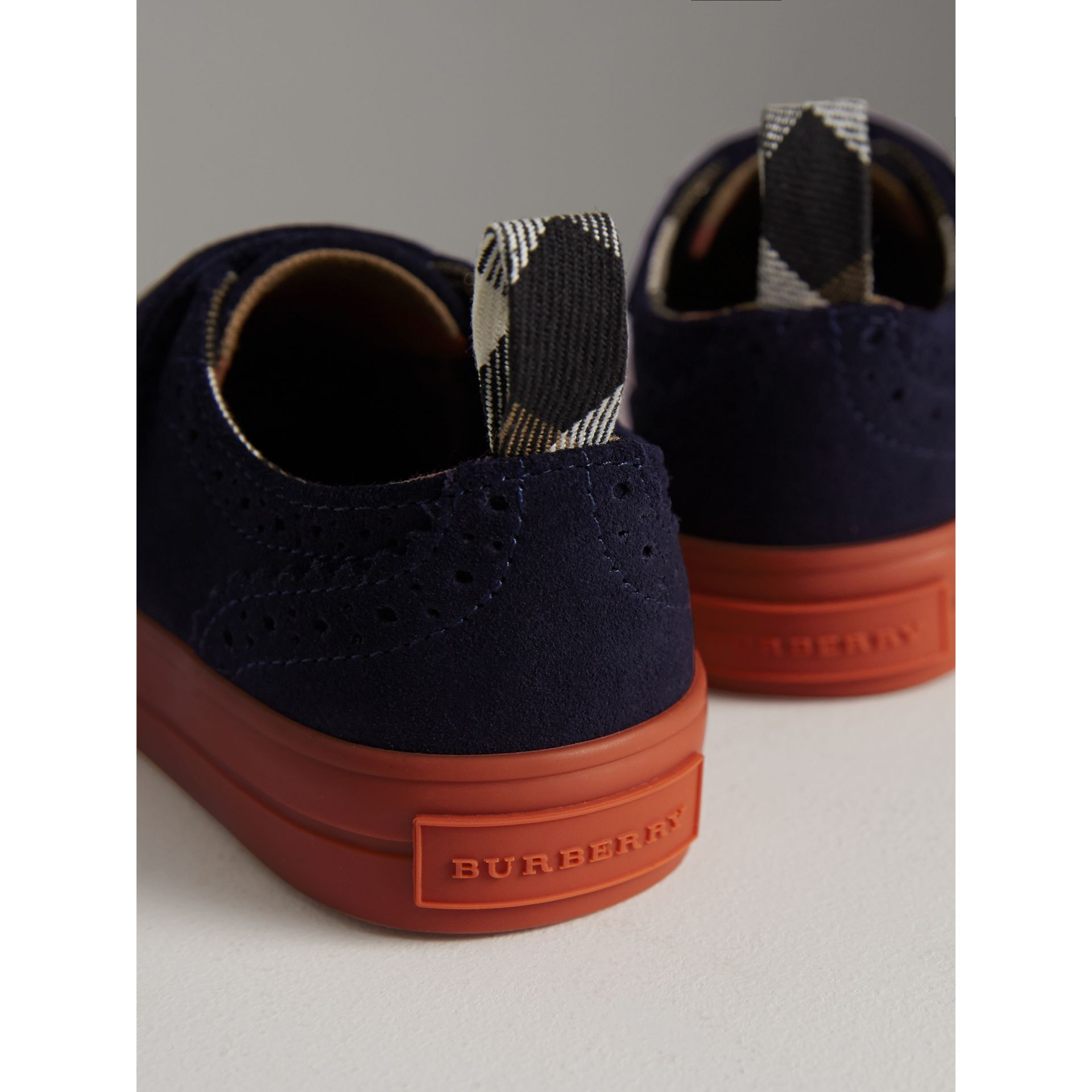 Two-tone Brogue Detail Suede Trainers in Blue Carbon | Burberry United Kingdom - gallery image 3