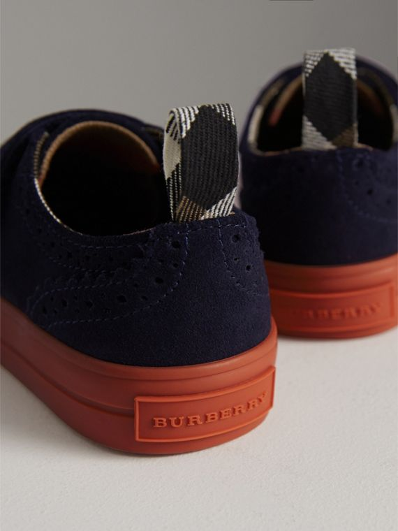 Two-tone Brogue Detail Suede Trainers in Blue Carbon | Burberry - cell image 2