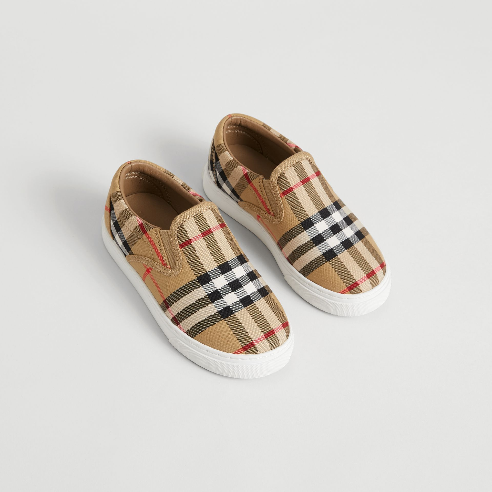 Vintage Check and Leather Slip-on Sneakers in Antique Yellow/optic White | Burberry Australia - gallery image 0