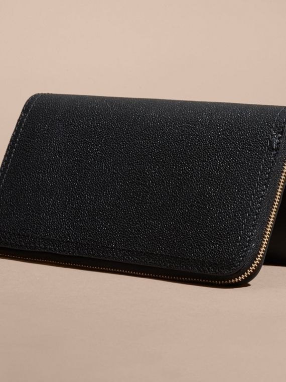 Black Grainy Leather Ziparound Wallet Black - cell image 2