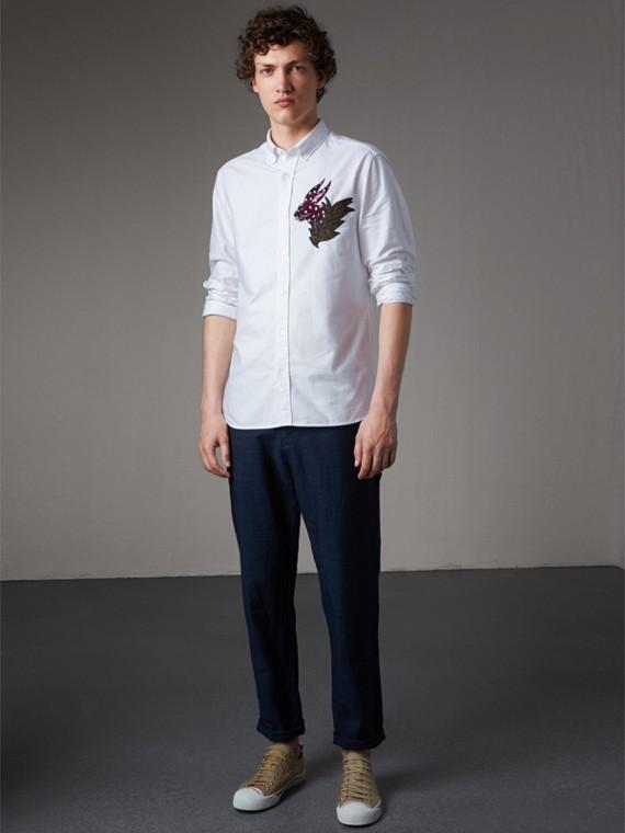 버튼 다운 칼라 비스트 모티프 코튼 옥스퍼드 셔츠 - 남성 | Burberry