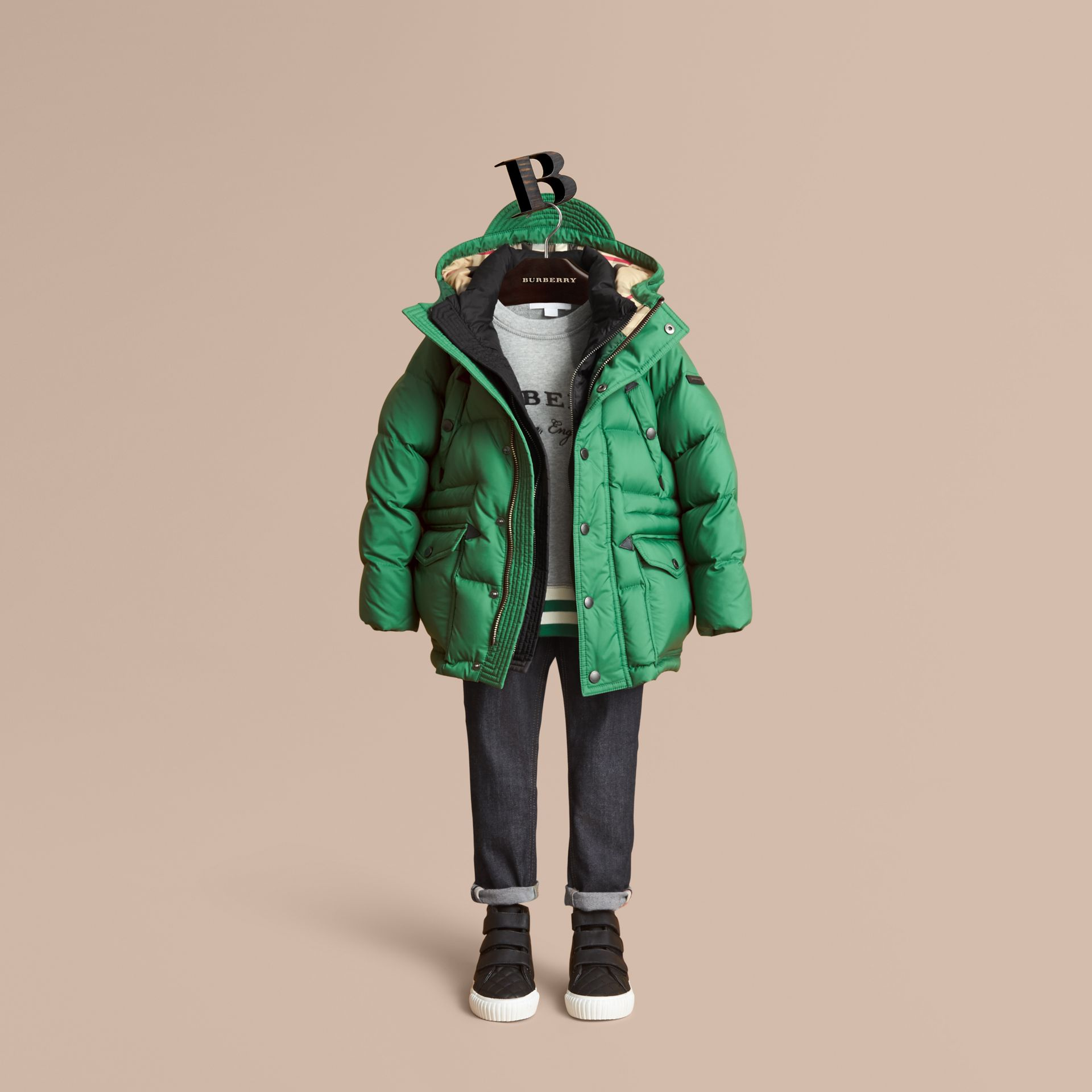 Down-filled Hooded Puffer Jacket in Pigment Green - Boy | Burberry United Kingdom - gallery image 0
